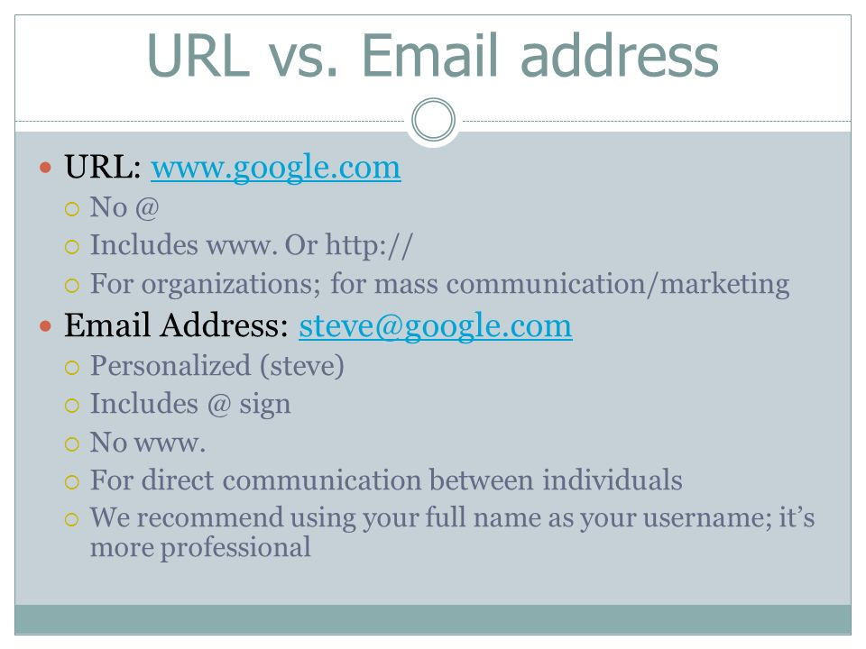 Difference Between Web Address and Email Address