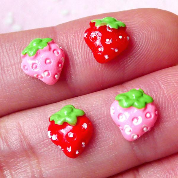 Miniature Strawberry Nail Art